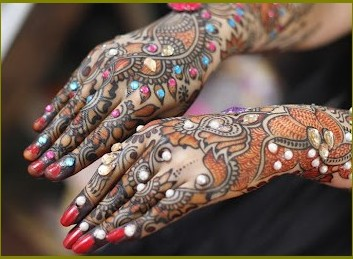 colorful stone mehndi design