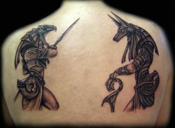 anubis and horus egyptian tattoo