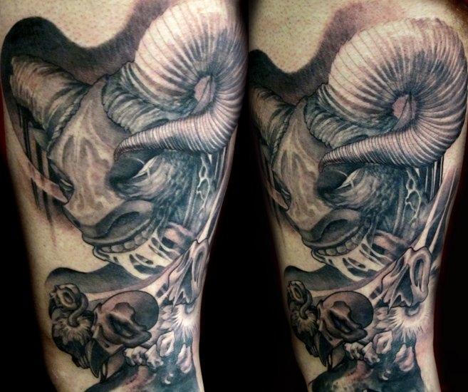 Capricorn Head Tattoo Design Pinterest