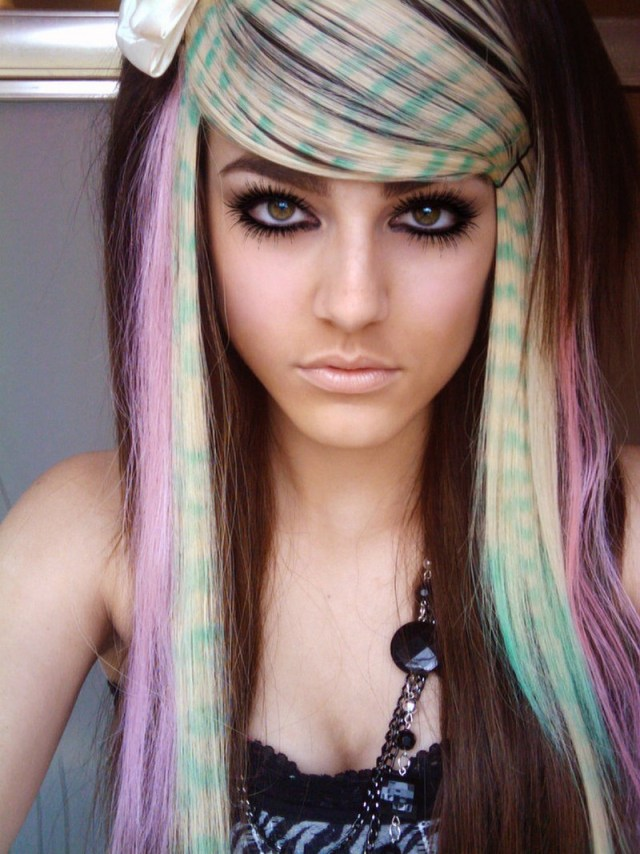 color zebra emo hairstyle
