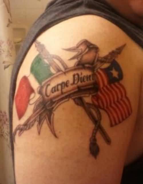 carpe diem tattoo design with flag