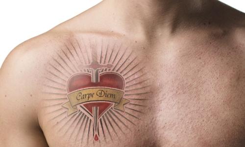 carpe diem sword through heart tattoo design