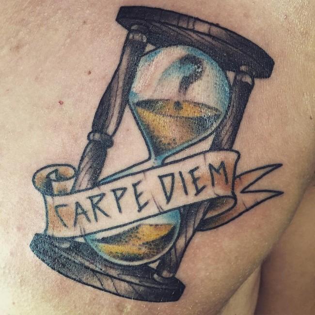 carpe diem tattoo design with timeless
