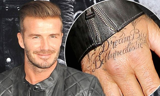 hand tattoo design on david beckham
