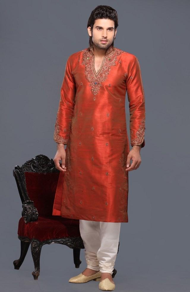 silk red kurta pyjama for men