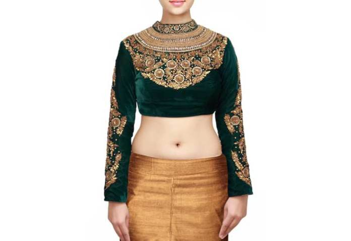 velvet with zardosi work for silk saree blouse