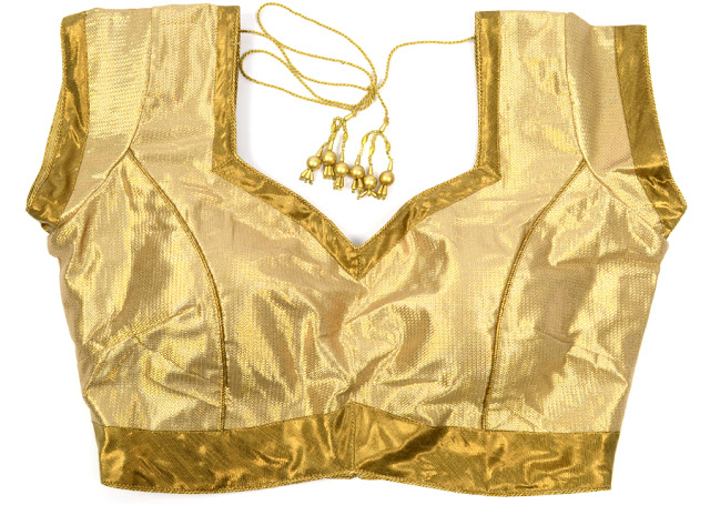 golden blouse design