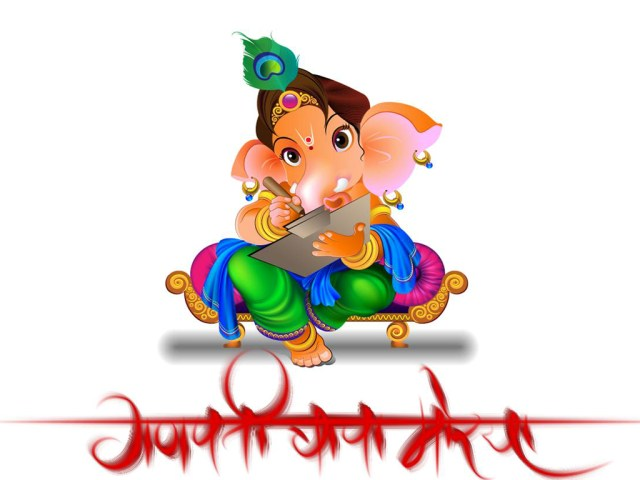 Drawing images of the lord Ganesha