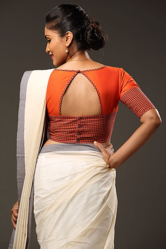 simple blouse design for silk saree
