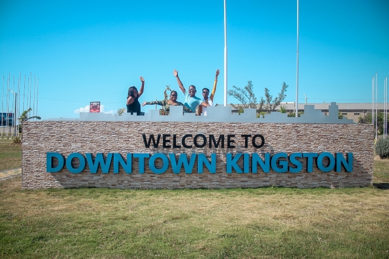Wave from Downtown Kingston Jamaican sign