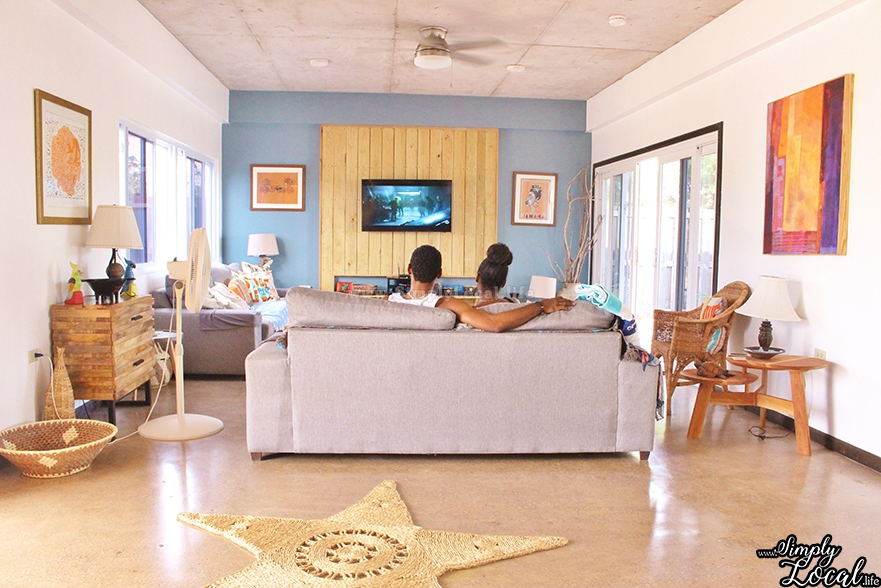 Turtles Nest Treasure Beach Jamaica Villa couple watching tv