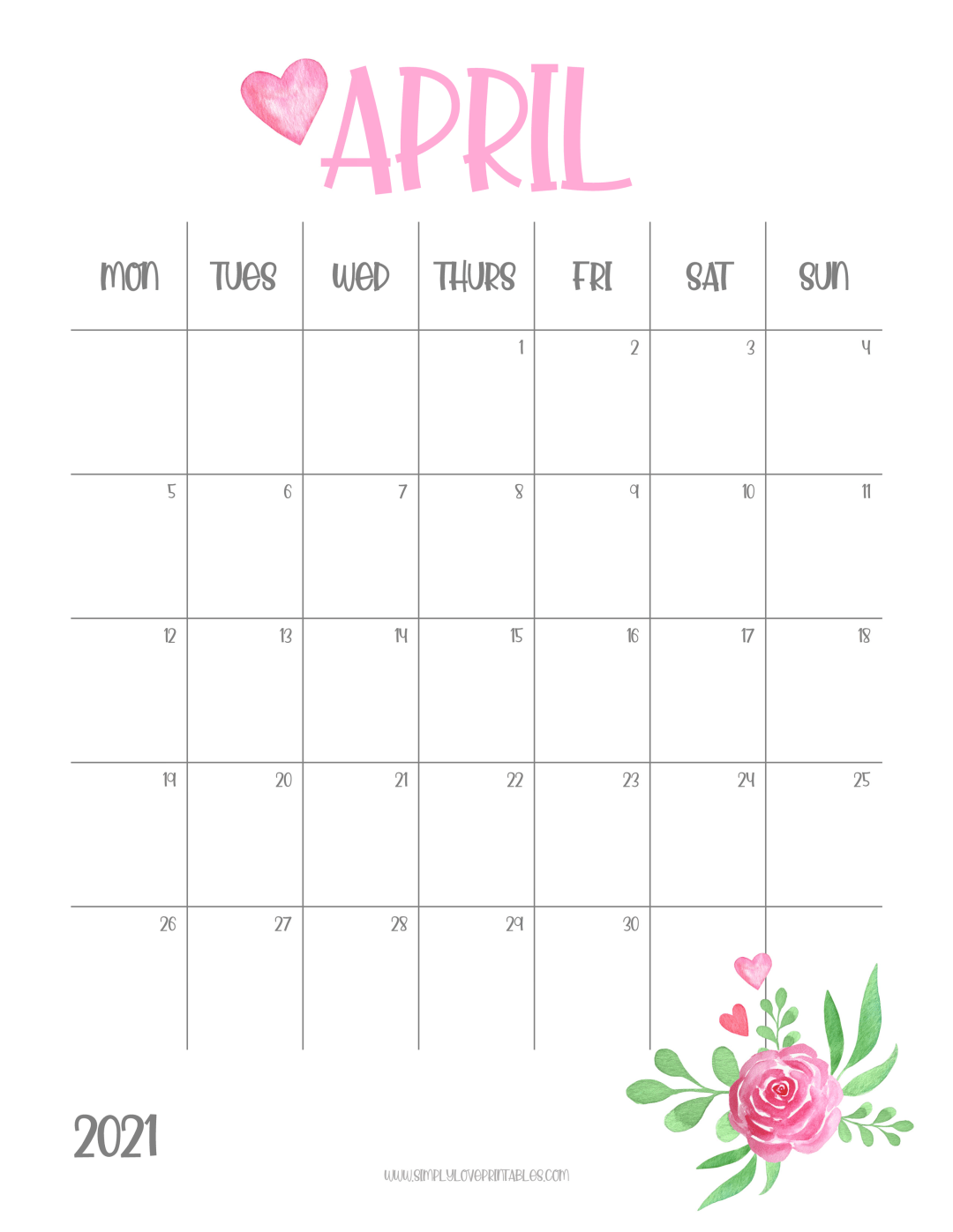 Free Printable 2021 Pink Floral Monthly Calendars