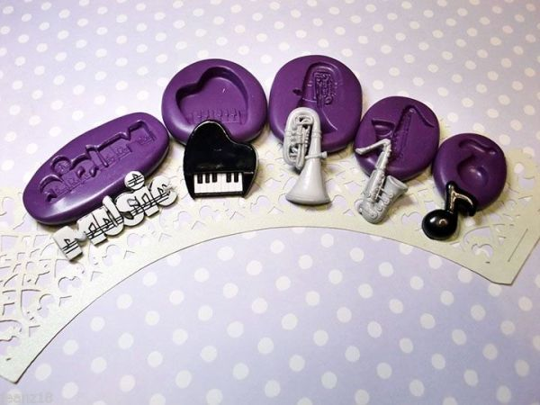 music instrument silicone mold fondant chocolate cake decoration pop soap clay miniature simplymolds icing gum paste PMC