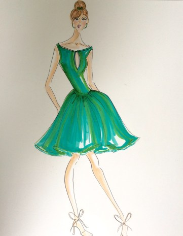 Fashion Illustration of a women in a '50 inspired green dress
