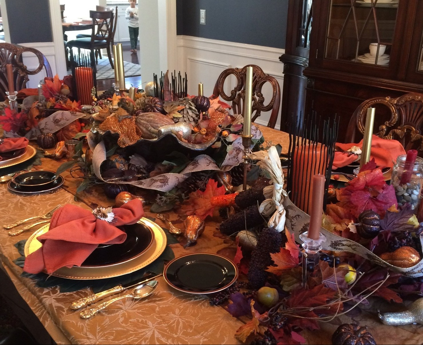 Last Years Thanksgiving Table with the classic gold, orange, red and brown.