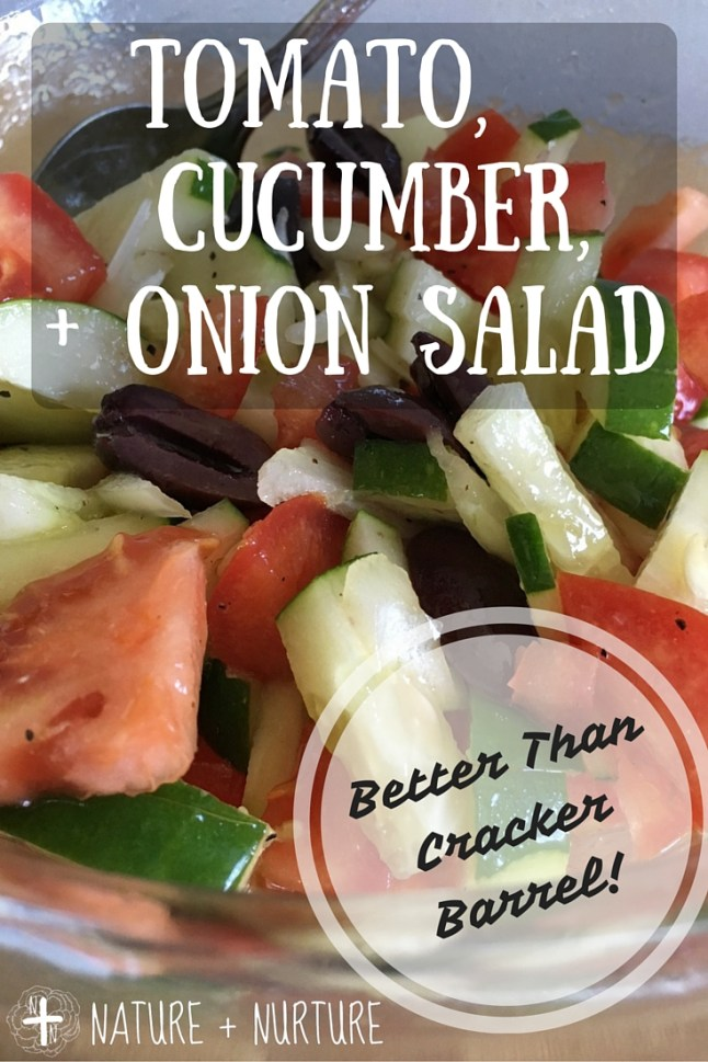 A delicious tomato cucumber and onion salad recipe with homemade dressing - make this for your next picnic! Click for the recipe - it's better than the Cracker Barrel version!