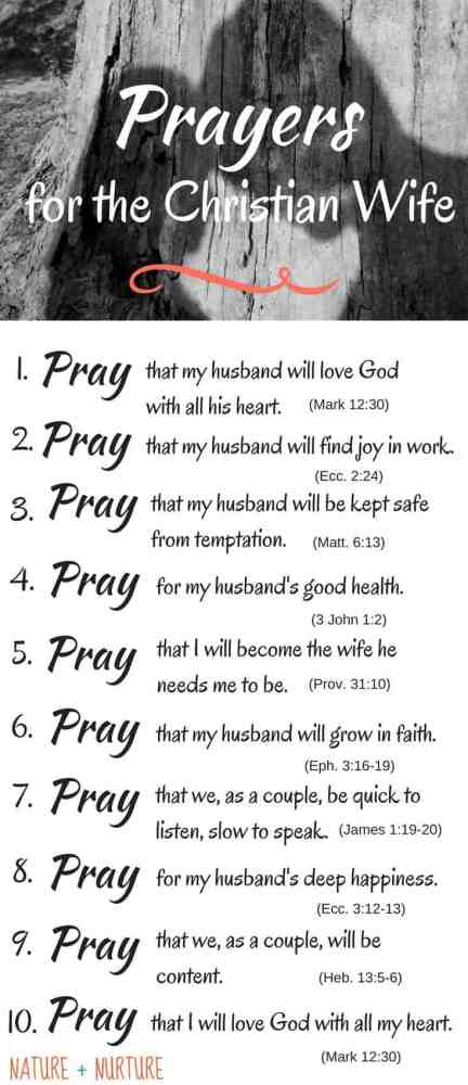 """Praying for My Husband"" Pinterest pin - photo of a couple at the top with each specific prayer listed below."