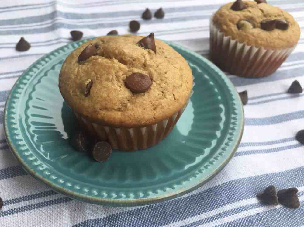 Healthy Peanut Butter Chocolate Chip Breakfast Muffins