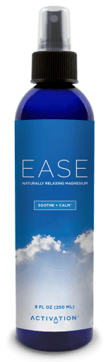 Magnesium spray in a blue bottle.