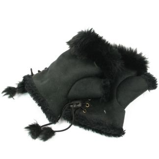 Women's Girl's Faux Suede & Fur Fingerless Gloves Wrist Warmer