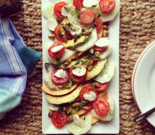 Peach, Avocado, Basil + Pistachio Salad