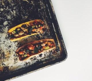 Chicken Sausage + Kale Stuffed Squash