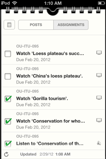 The assignments work much like iOS 5 Reminders.