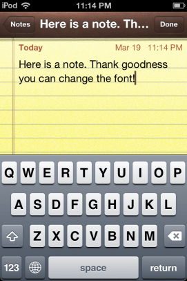 Note taking app. Now with changeable fonts!