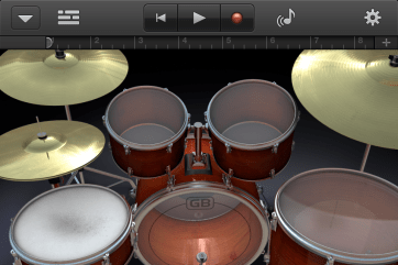 The drum set is more entertaining than it is useful on the small screen.