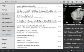 Playlists in the music player.