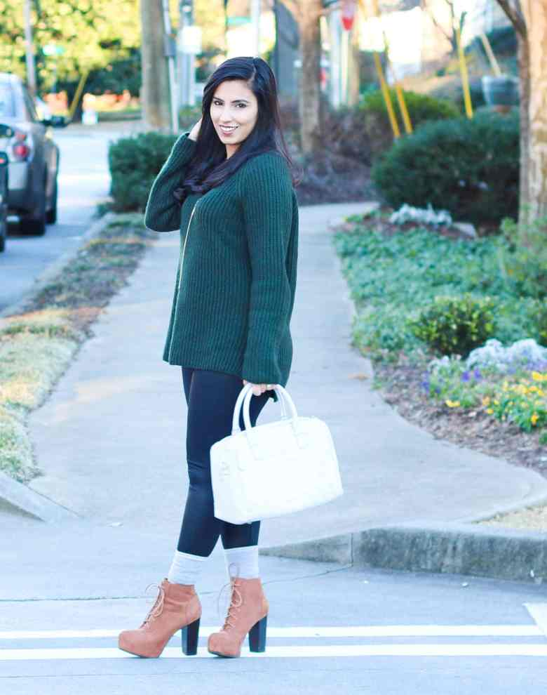 green sweater, hm, hm sale, platform boots, faux leather leggings, tassle necklace, baublebar, initial bar necklace