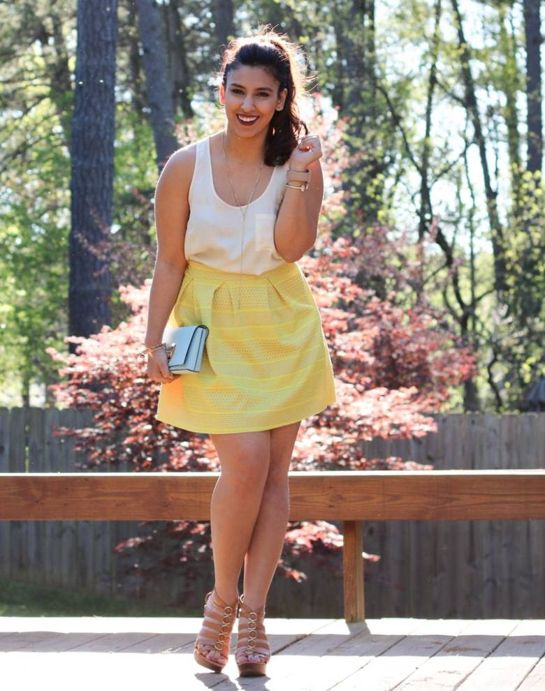 yellow skirt, silk blouse, blue clutch, stila lipstain, brown heels, spring fashion, kendra scott cuff