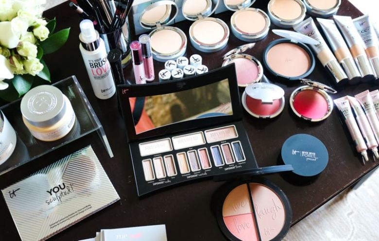 flat lay of makeup from event