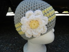 Gray and Yellow Beanie w/ Flower