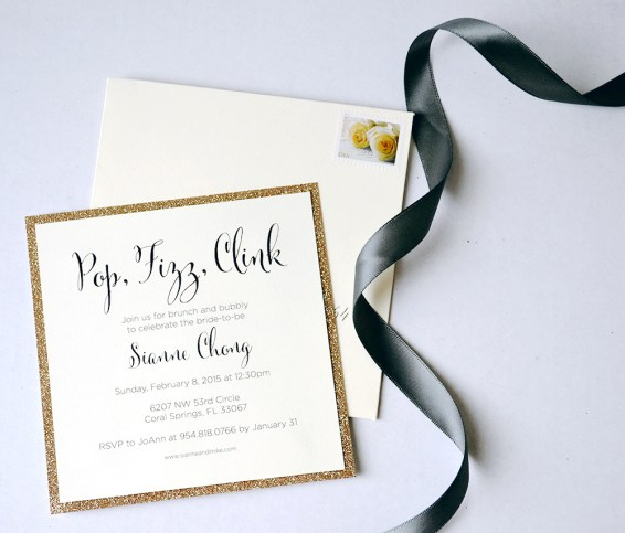 Simply Sianne Calligraphy and Design - Hand Made Wedding Invitations - Pop Fizz Clink Bridal Shower invite