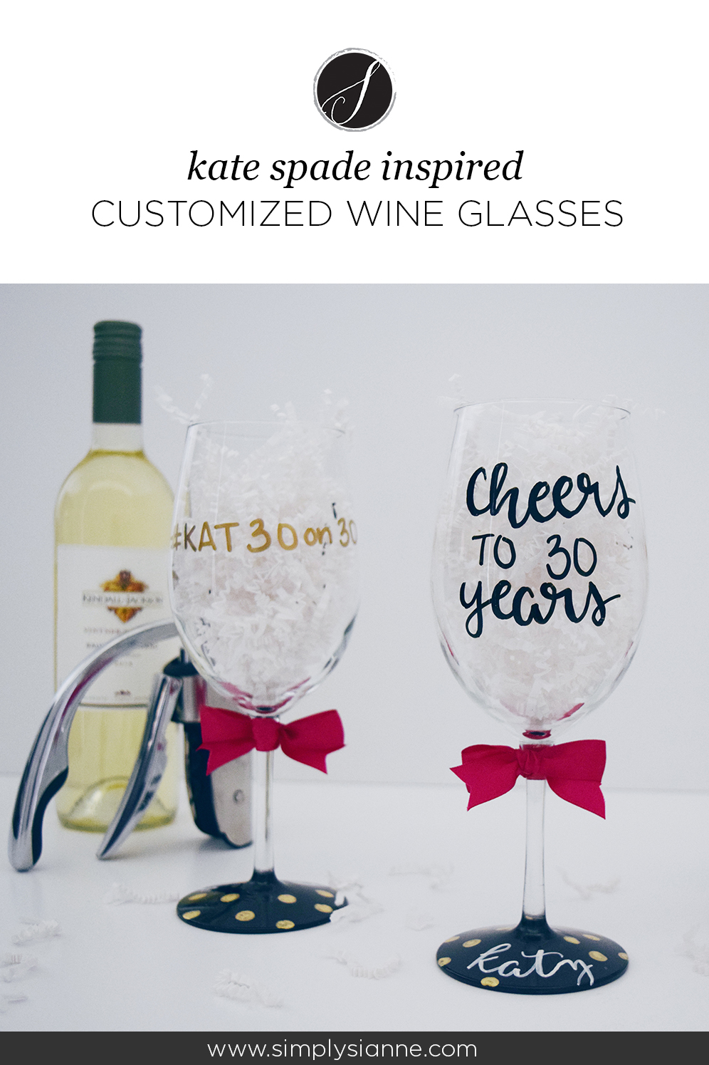 kate spade inspired customized wine glasses