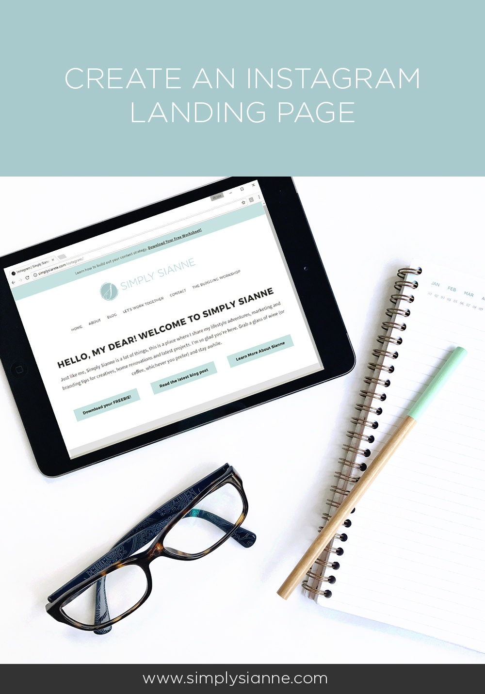 Create an instagram landing page for your creative business