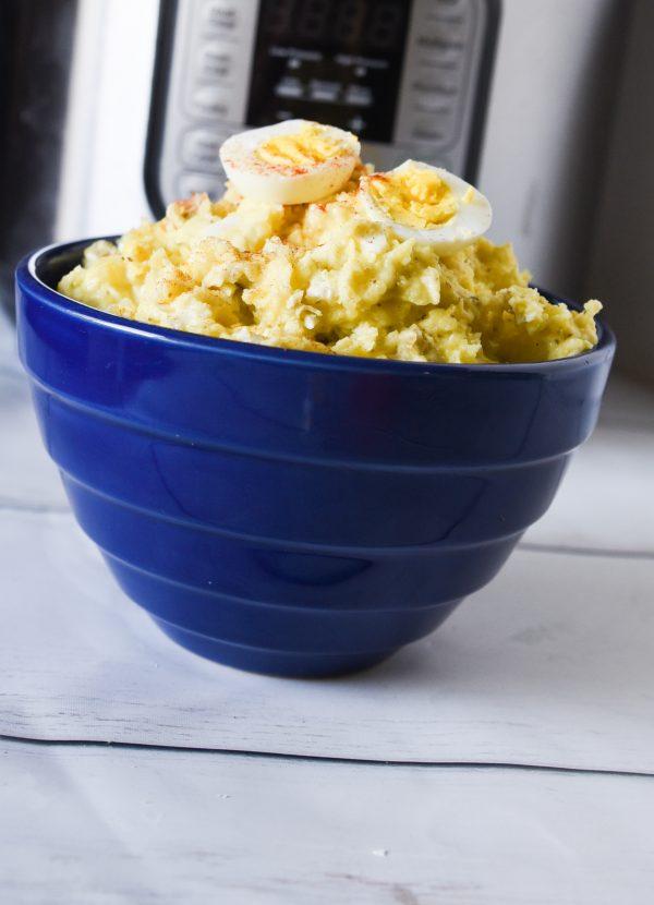 instant pot potato salad in blue bowl