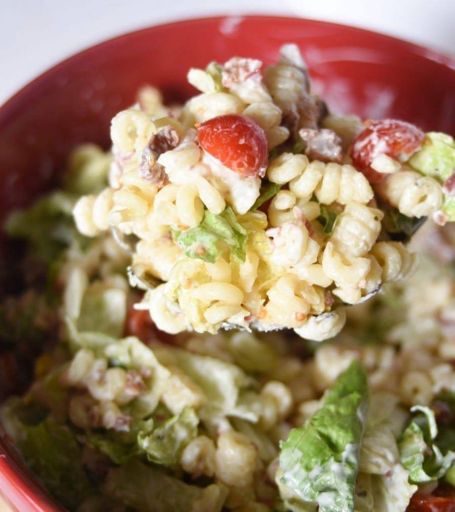 BLT Pasta Salad on a Spoon