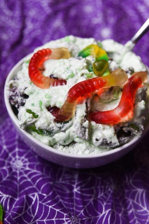 halloween jello salad with gummy worms