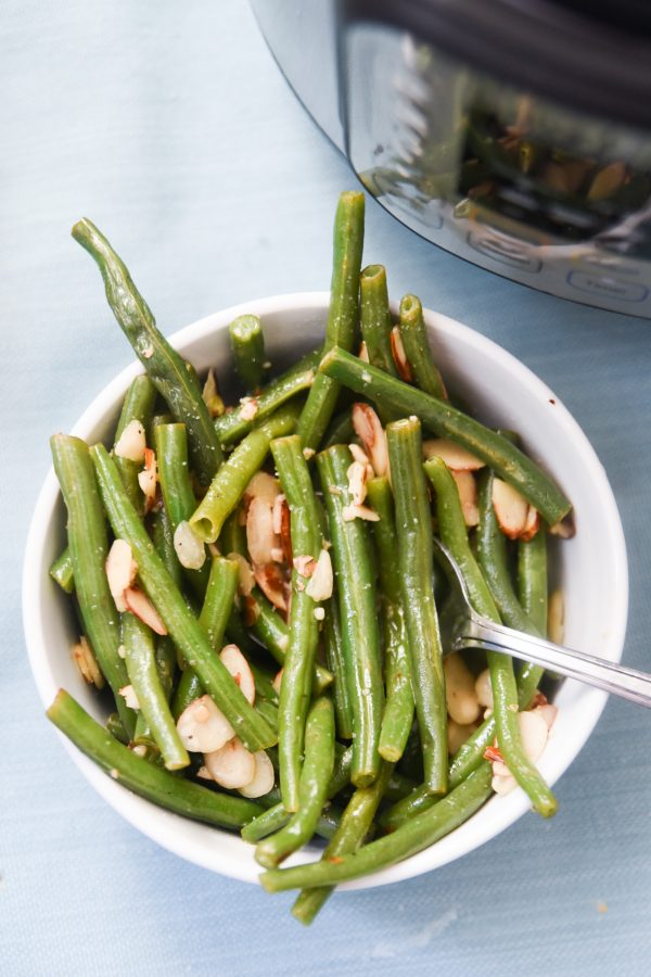 green beans in front of instant pot