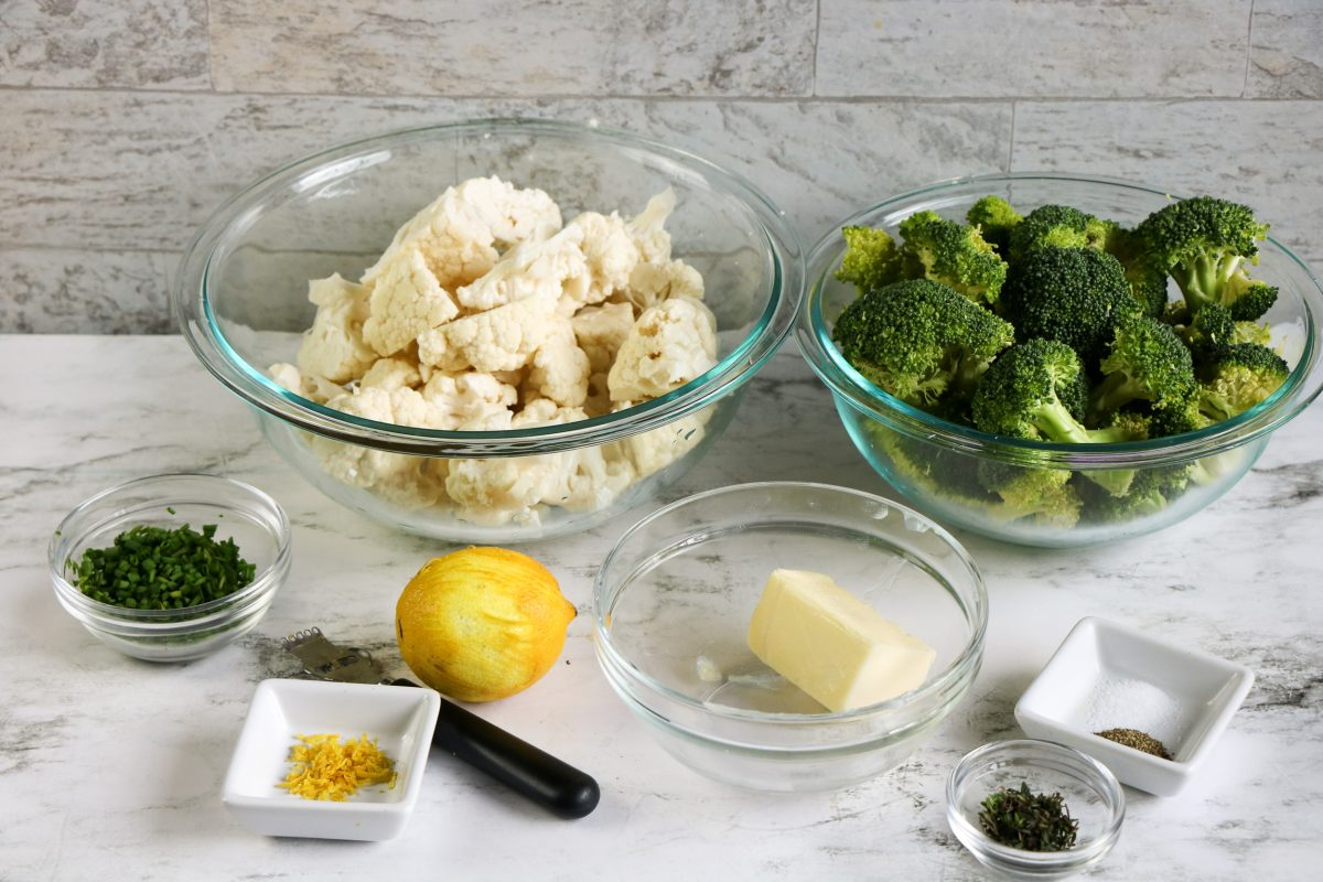 ingredients with herbed caulifower and broccoli