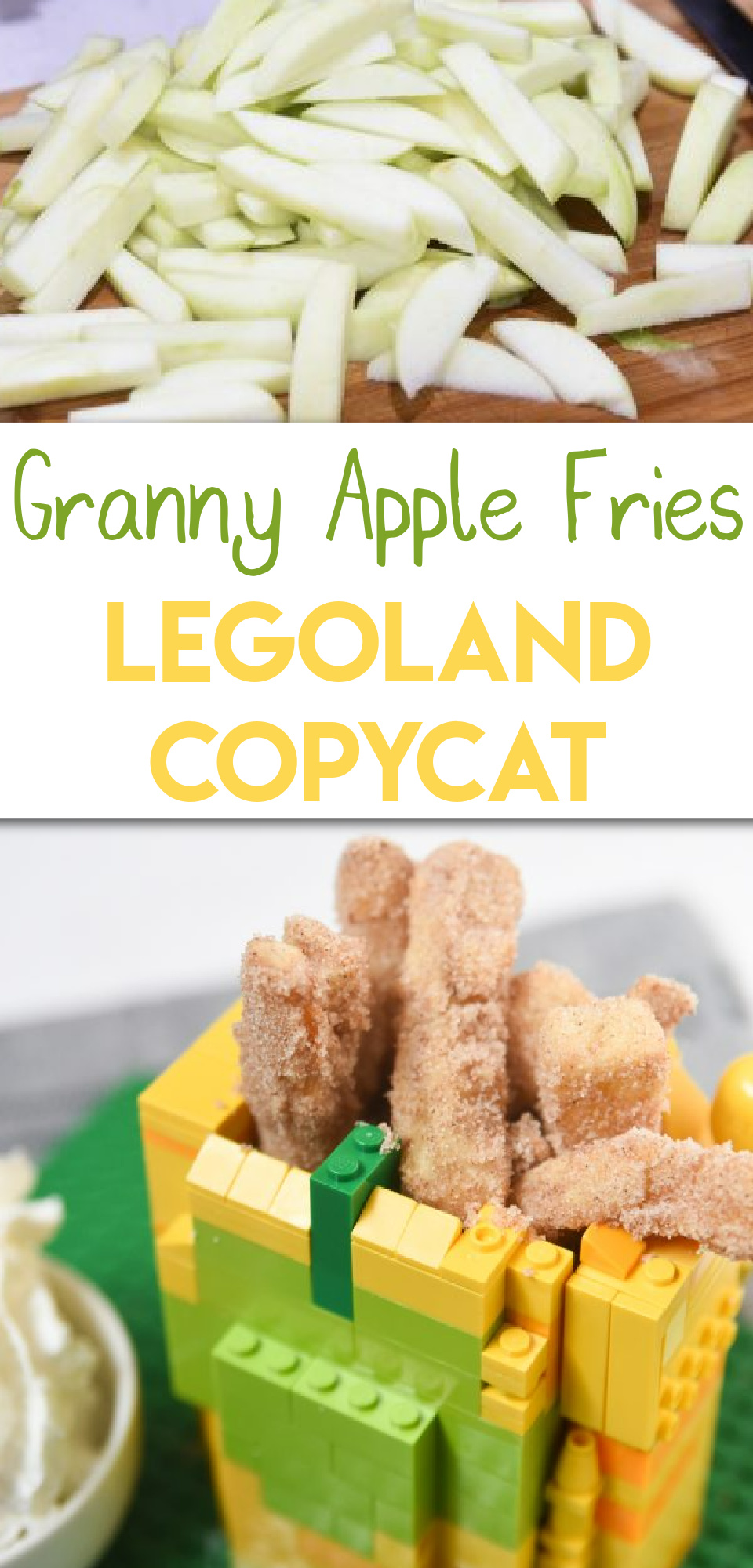 Finding a good apple fries recipe can be really hard, but the good news is that you don't have to look any further! These granny apple fries taste exactly like the Legoland apple fries you are constantly craving, seriously! via @simplysidedishes89