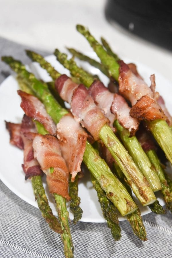 plate of bacon wrapped asparagus