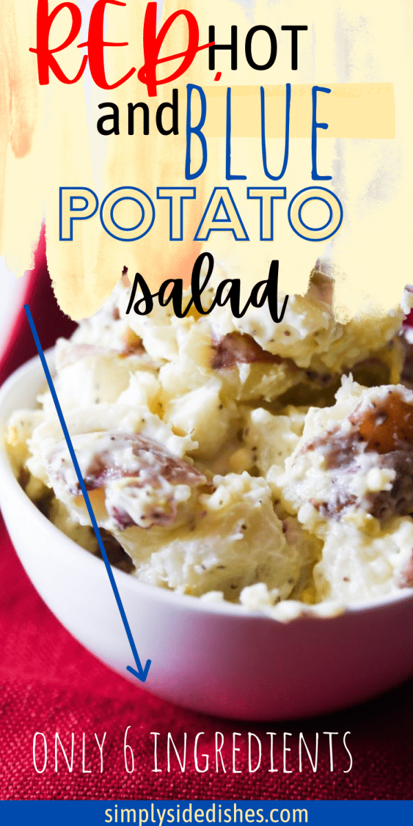 Red hot and blue potato salad is a simple yet delicious salad made mainly from red potatoes and eggs that are perfect for your summer barbecue. It is a salad that is best served cold and has a unique texture due to the red potatoes. The salad is creamy, rich, and flavorsome. The best part is it takes no more than 30 minutes to get it on a plate. You can serve this salad in several ways, making it one of the most versatile potato salad recipes. via @simplysidedishes89