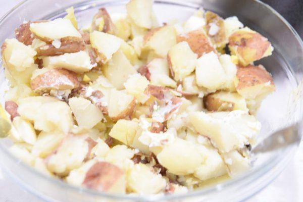 mixed ingredients for potato salad