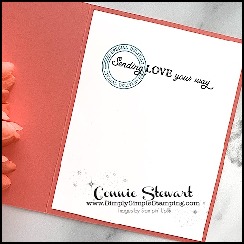 I used the 'sending love your way' greeting on this simple card.