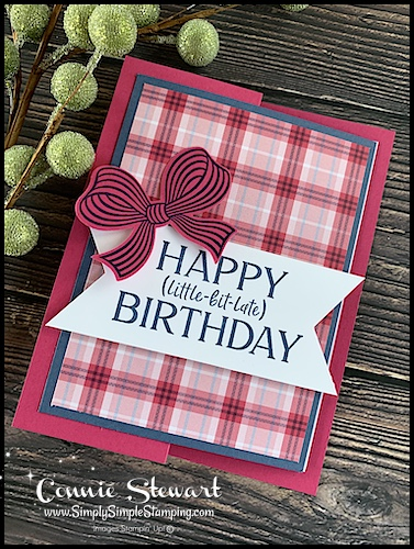 This fancy fold birthday card is perfect for anyone who loves pink and plaid