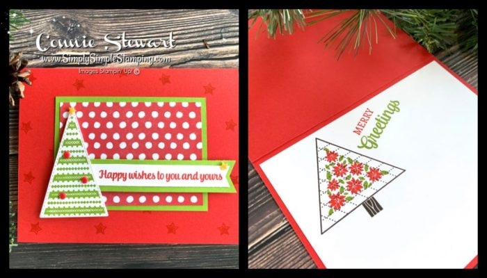 This cute Christmas card is so quick to make and features a Christmas Tree popped up on dimensionals