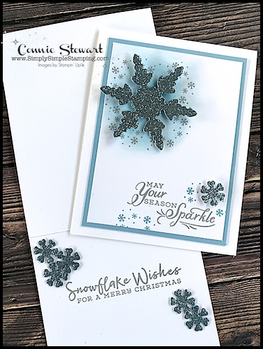 Sponged greeting cards make the winter season sparkle